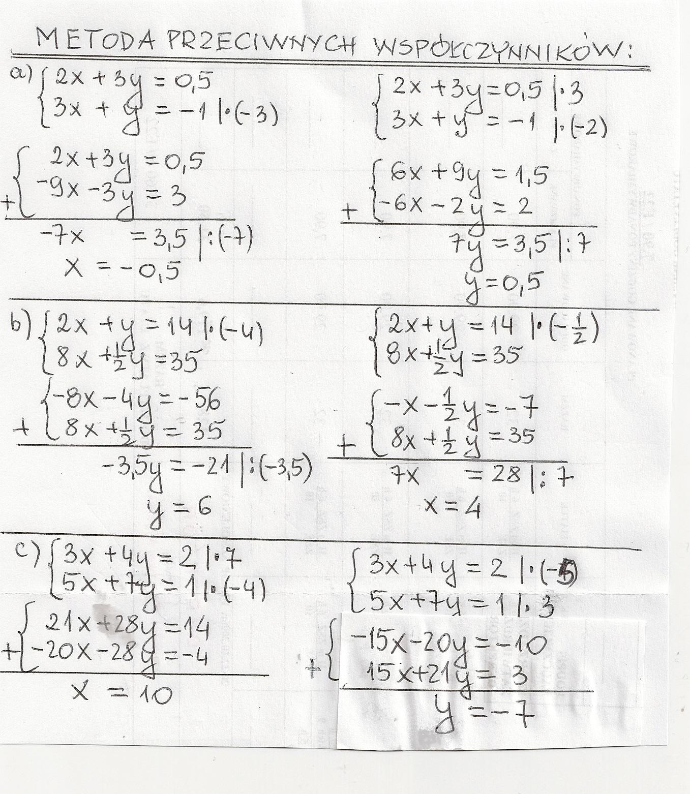 Rozwiąż podane układy równań metodą podstawiania i metodą