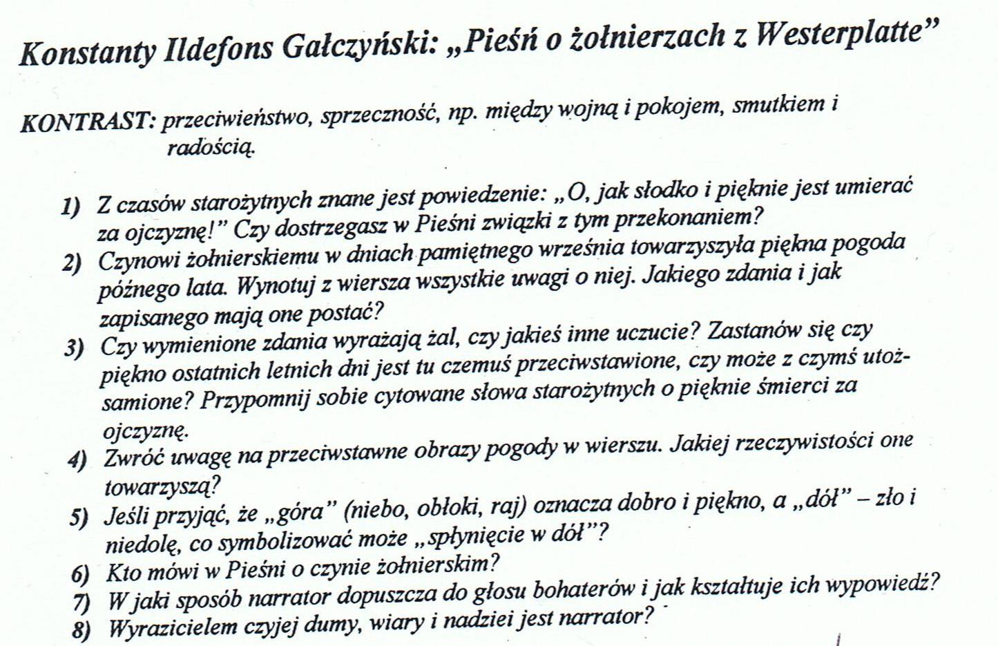 Pieśń O żołnierzach Z Westerplatte Odpowiedz Na Pytania